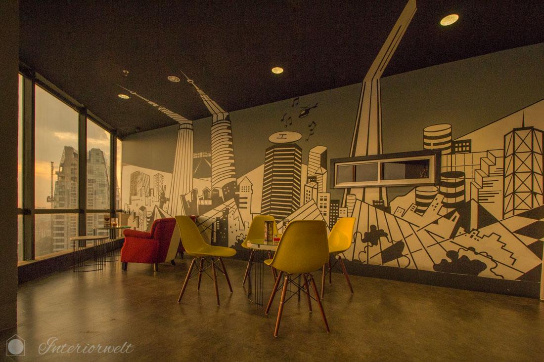 Schwarz-weiße Wandgestaltung Kuala Lumpur