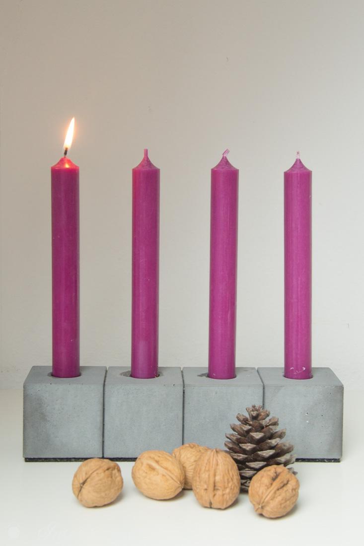 Beton Kerzenständer mit Nüssen